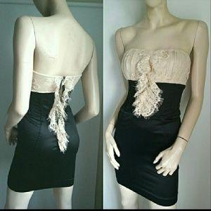 Bebe dress black nude satin lace XS
